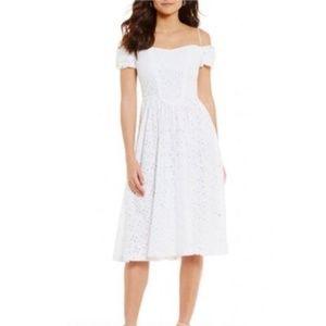 Womens LF Leslie Fay Off the Shoulder Eyelet Dress